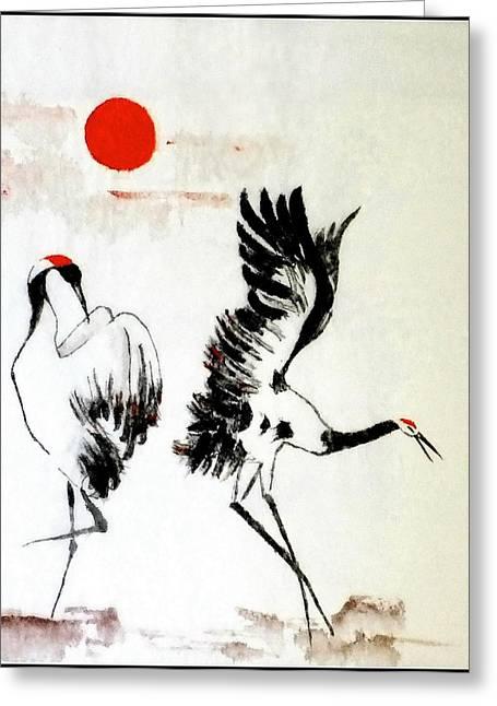 Dancing Herons Suginomai Greeting Card