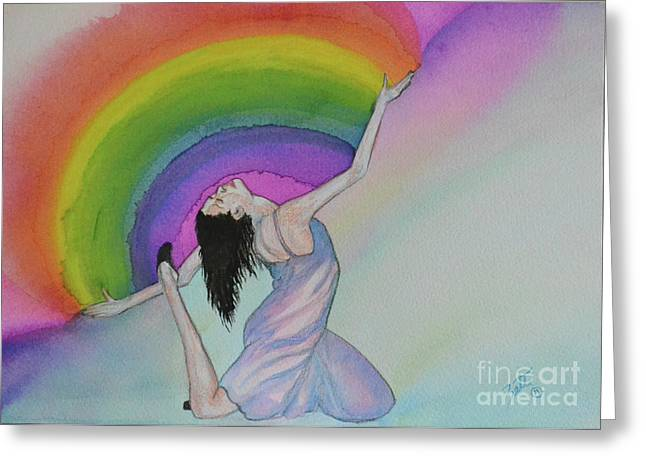 Dancing In Rainbows Greeting Card
