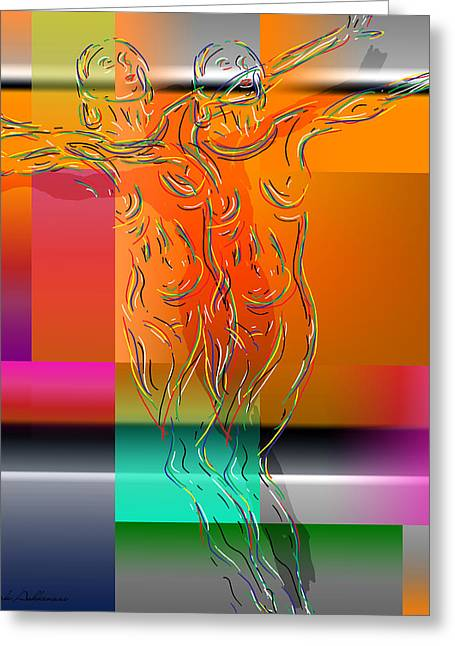 Dancing In The Rain Greeting Card by Mark Ashkenazi