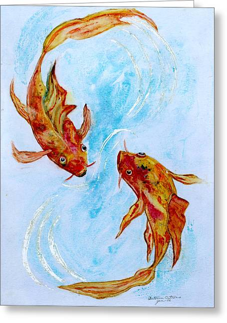 Greeting Card featuring the painting Dancing Koi Sold by Antonia Citrino