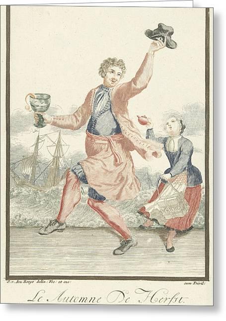 Dancing Man With A Goblet In His Hand, Pieter Van Den Berge Greeting Card by Pieter Van Den Berge