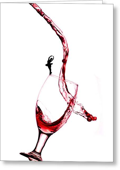 Dancing On A Glass Cup With Splashing Wine Little People On Food Greeting Card by Paul Ge