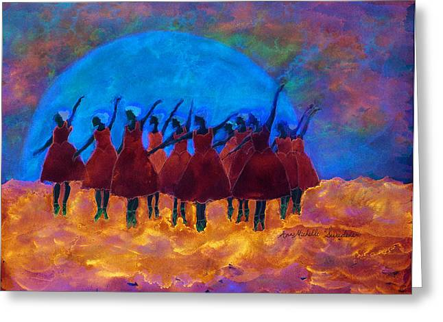 Dancing On Fire In The Moon Light Greeting Card by Ann Michelle Swadener