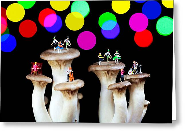 Dancing On Mushroom Under Starry Night Greeting Card by Paul Ge