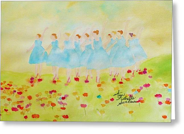 Dancing On Top Of The Flowers Greeting Card by Ann Michelle Swadener
