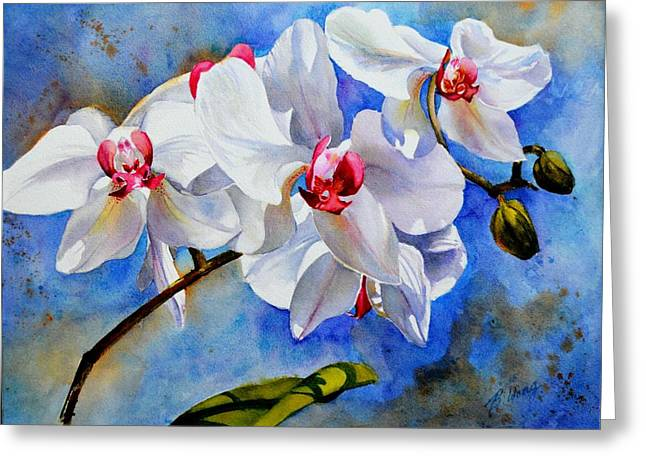 Dancing Orchids Greeting Card by Betty M M   Wong