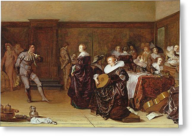 Dancing Party, 17th Century Greeting Card by Pieter Codde