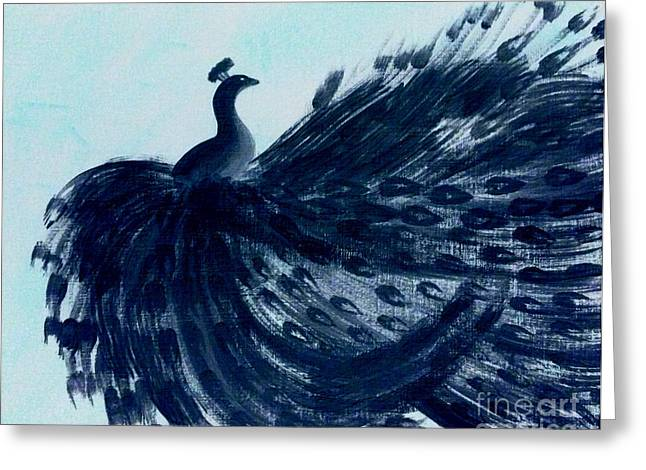 Dancing Peacock Aqua Greeting Card