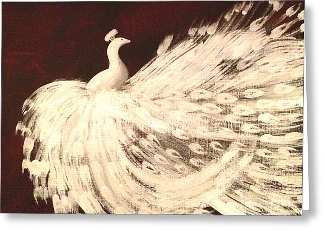Greeting Card featuring the painting Dancing Peacock Cream by Anita Lewis