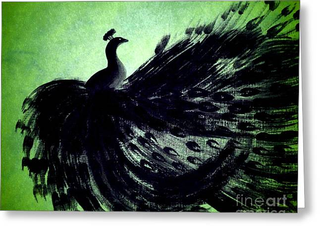 Dancing Peacock Green Greeting Card