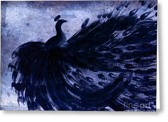 Greeting Card featuring the painting Dancing Peacock Navy by Anita Lewis