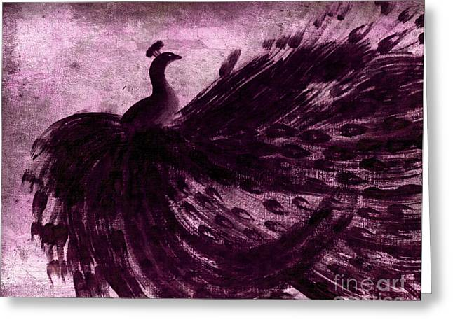 Dancing Peacock Plum Greeting Card by Anita Lewis