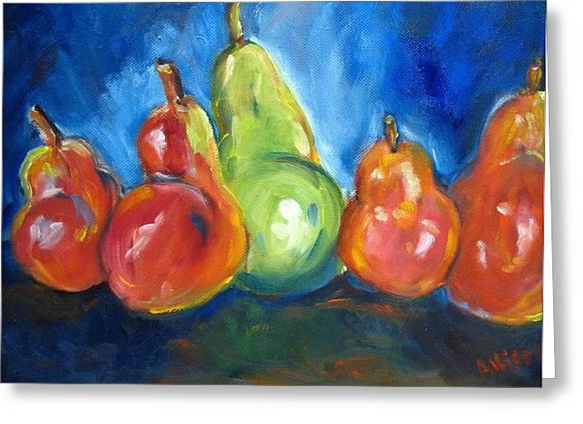 Dancing Pears Greeting Card by Stephanie Allison
