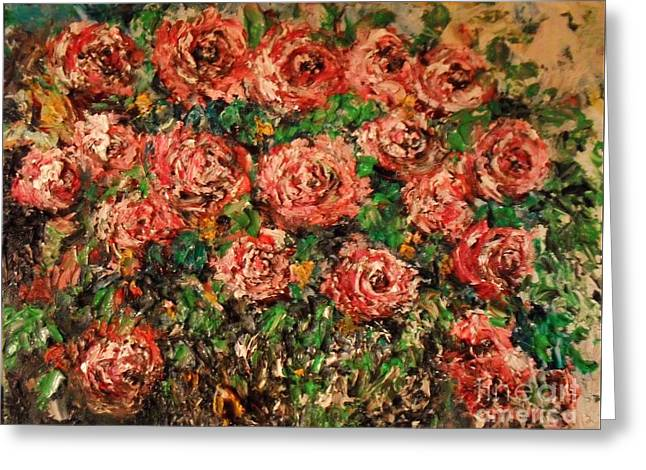 Greeting Card featuring the painting Dancing Red Roses by Laurie Lundquist