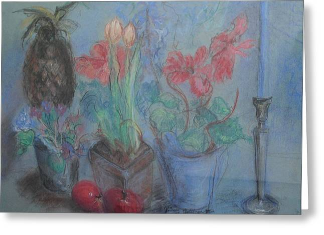 Dancing Still Life In Pastel Greeting Card by Patricia Kimsey Bollinger