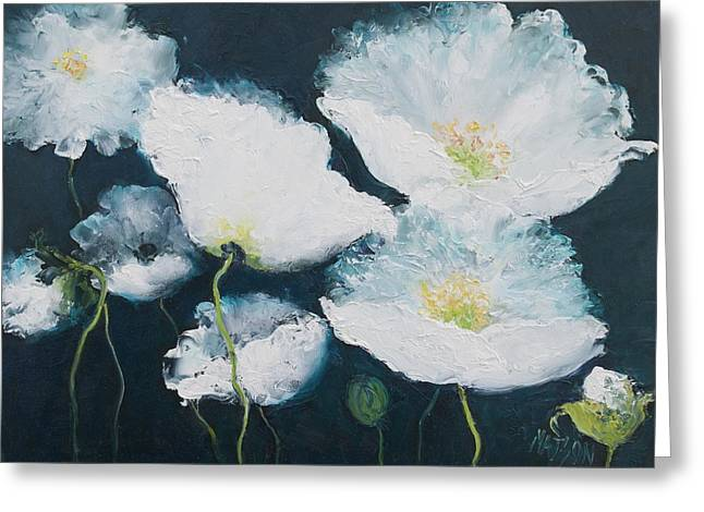 Dancing White Poppies Greeting Card by Jan Matson