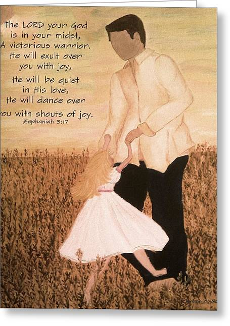 Dancing With Daddy Greeting Card by Michelle Bentham