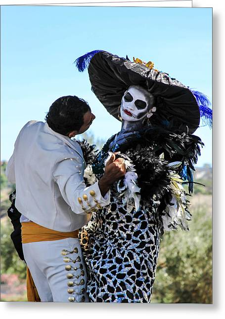 Dancing With The Death Greeting Card by Menachem Ganon
