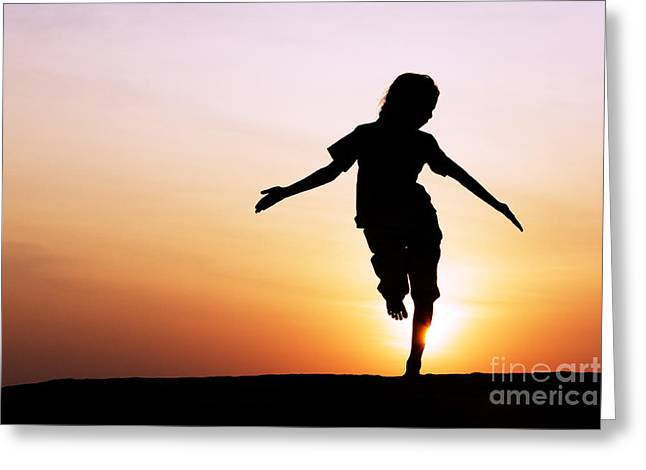 Dancing With The Sun Greeting Card by Tim Gainey