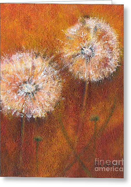 Greeting Card featuring the painting Dandelion Clocks by Sandy Linden