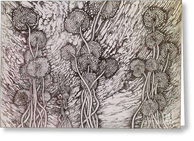Greeting Card featuring the drawing Dandelions by Iya Carson