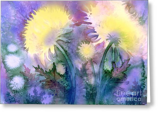 Greeting Card featuring the painting Dandelions by Teresa Ascone