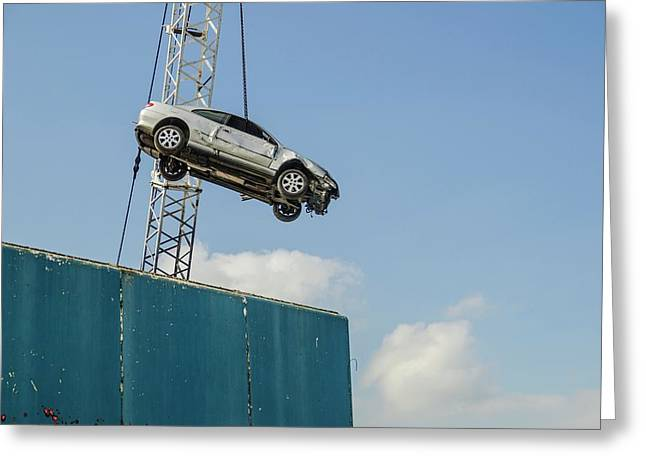 Dangling Car Greeting Card by Robert Brook