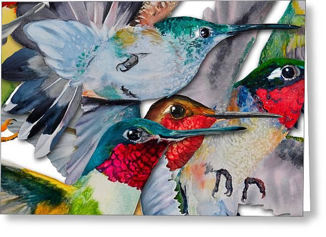 Da133 Hummingbirds By Daniel Adams Greeting Card