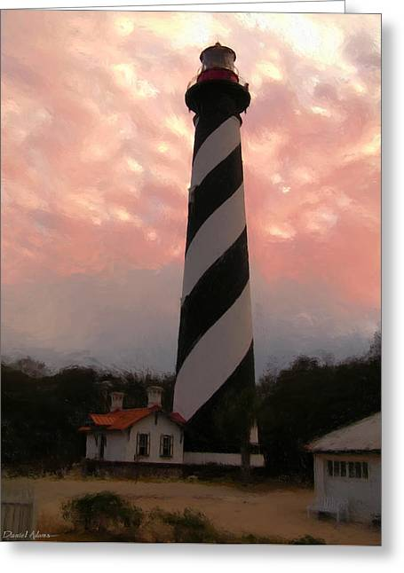 Da127 St. Augustine Lighthouse By Daniel Adams Greeting Card