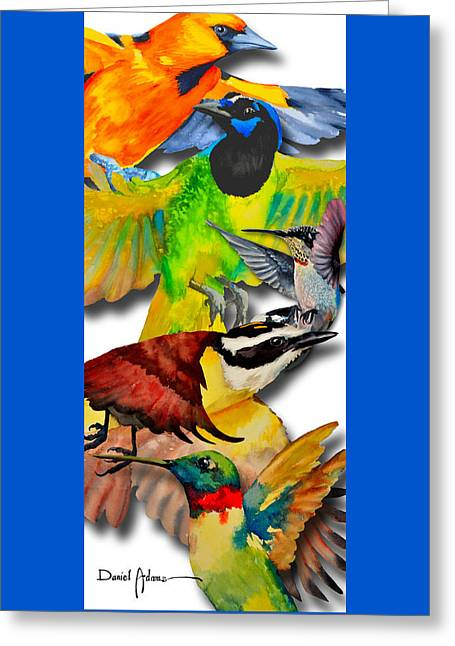 Da131 Multi-birds By Daniel Adams Greeting Card