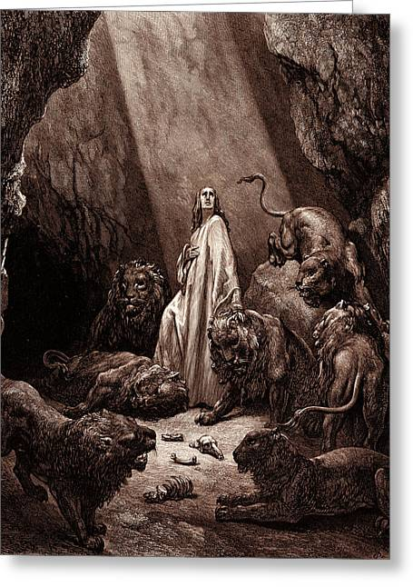 Daniel In The Den Of Lions, By Gustave Dore Greeting Card