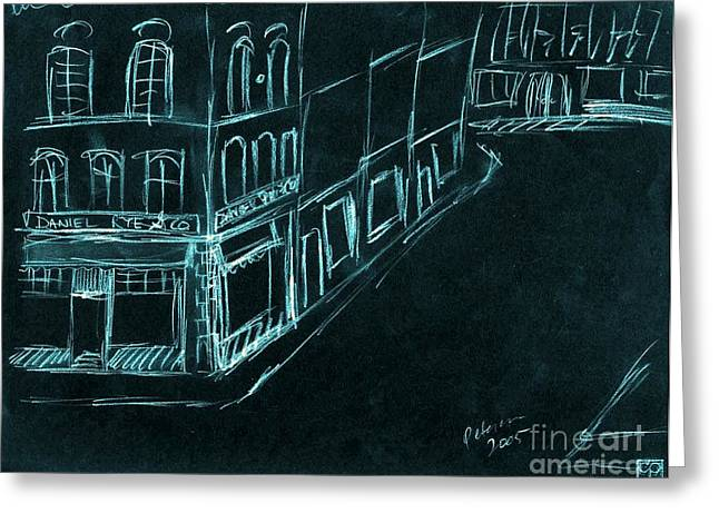 Daniel Rye And Company. City Street Building Sketch. Blue On Black. Greeting Card by Cathy Peterson