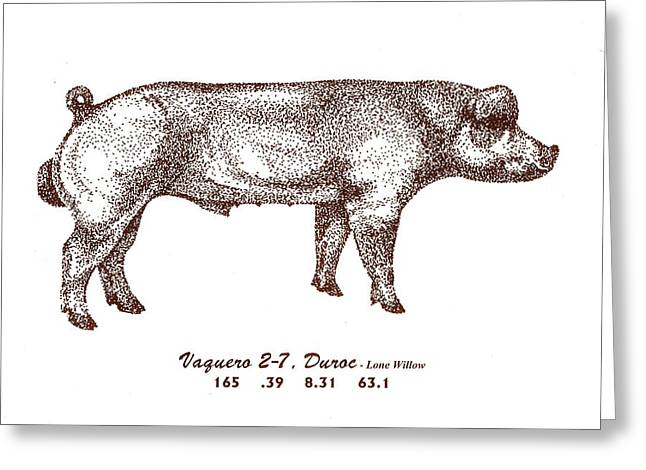 Greeting Card featuring the drawing Danish Duroc by Larry Campbell