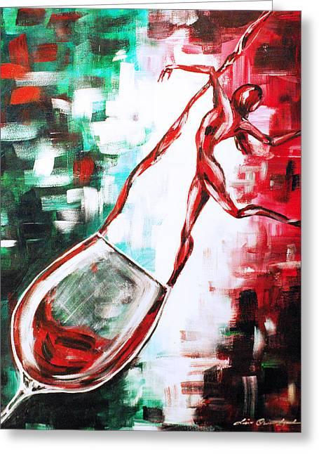 Dans Le Vin Mistero Greeting Card by Lisa Owen-Lynch