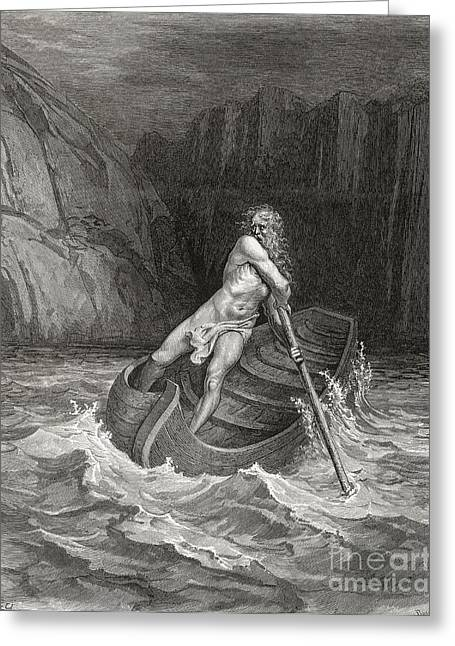 Dante's Inferno, Charon On The Styx Greeting Card by Middle Temple Library