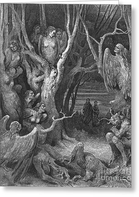 Dante's Inferno, Suicides And The Harpies Greeting Card