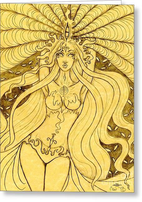 Danu Rising Sketch Greeting Card by Coriander  Shea