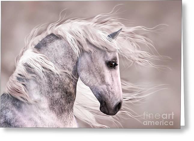 Dappled Grey Horse Head Profile Greeting Card