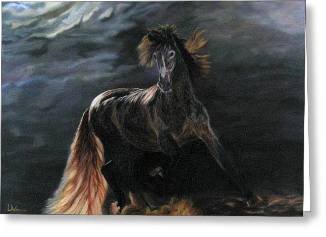 Greeting Card featuring the painting Dappled Horse In Stormy Light by LaVonne Hand