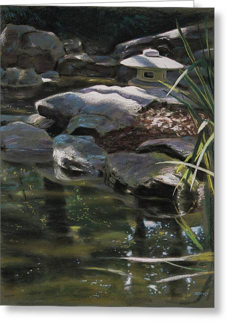 Dappled Light With Lantern Greeting Card by Christopher Reid
