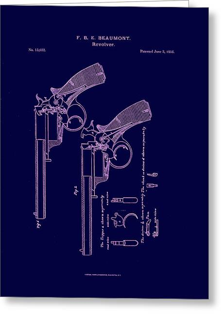 Dark Beaumont Revolver Patent Greeting Card by Georgia Fowler