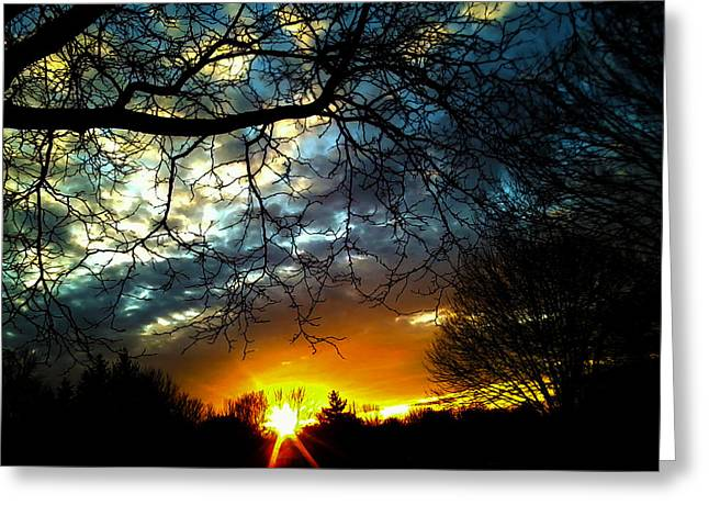 Dark Beauty Sunset Greeting Card by James Hammen