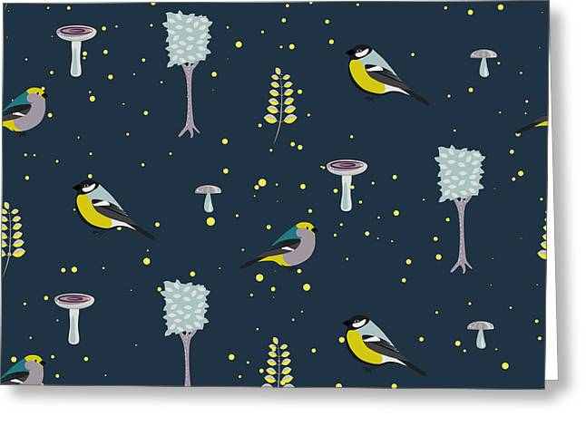 Dark Blue Forest Seamless Pattern With Greeting Card