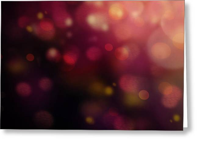 Dark Bokeh Greeting Card by Mythja  Photography