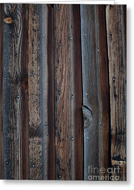 Dark Brown Wood Texture Greeting Card by Sheri Van Wert