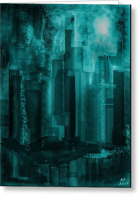 Greeting Card featuring the digital art Dark City by Martina  Rathgens