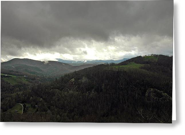 Dark Clouds Over Cashiers Greeting Card by Allen Carroll