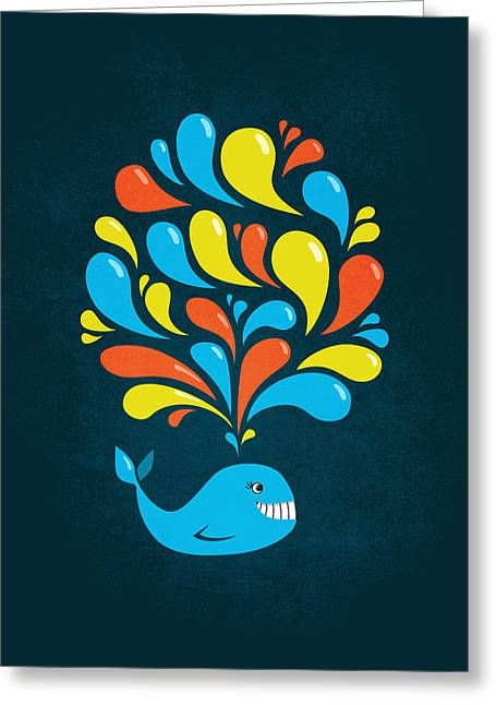 Dark Colorful Splash Happy Cartoon Whale Greeting Card by Boriana Giormova
