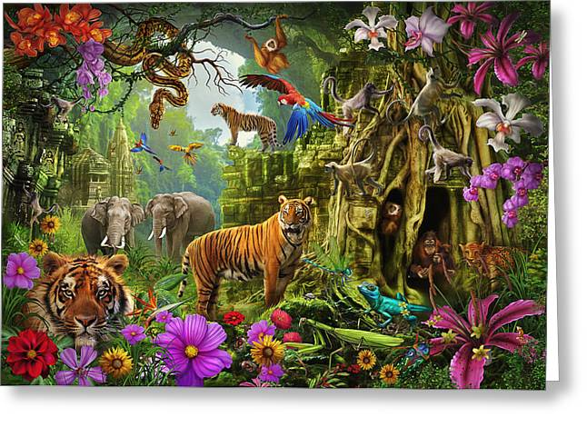 Greeting Card featuring the drawing Dark Jungle Temple And Tigers by Ciro Marchetti