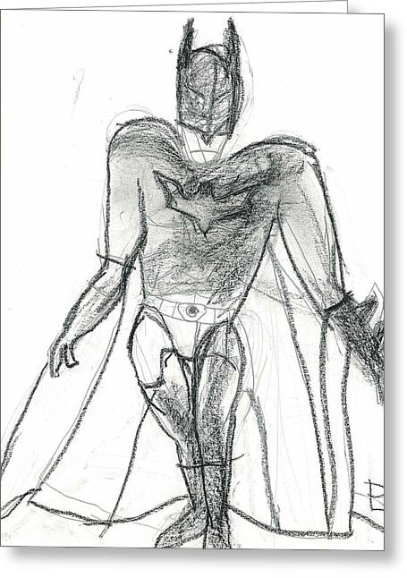 Greeting Card featuring the drawing Dark Knight by Fred Hanna